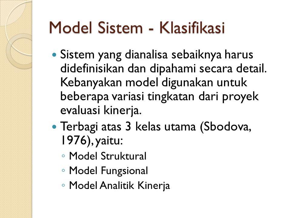 Model Sistem - Klasifikasi Sistem yang dianalisa sebaiknya harus didefinisikan dan dipahami secara detail. Kebanyakan model digunakan untuk beberapa v