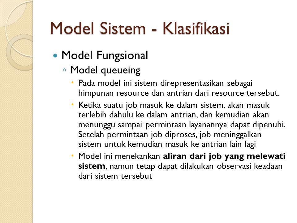 Model Sistem - Klasifikasi Model Fungsional ◦ Model queueing  Pada model ini sistem direpresentasikan sebagai himpunan resource dan antrian dari reso