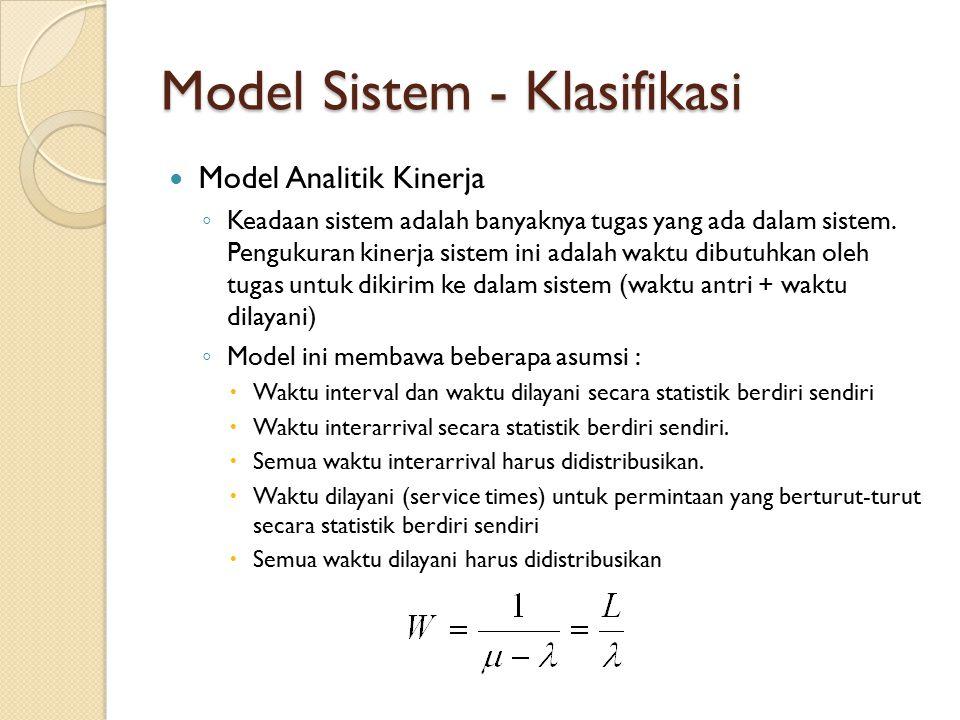 Model Sistem - Klasifikasi Model Analitik Kinerja ◦ Keadaan sistem adalah banyaknya tugas yang ada dalam sistem. Pengukuran kinerja sistem ini adalah