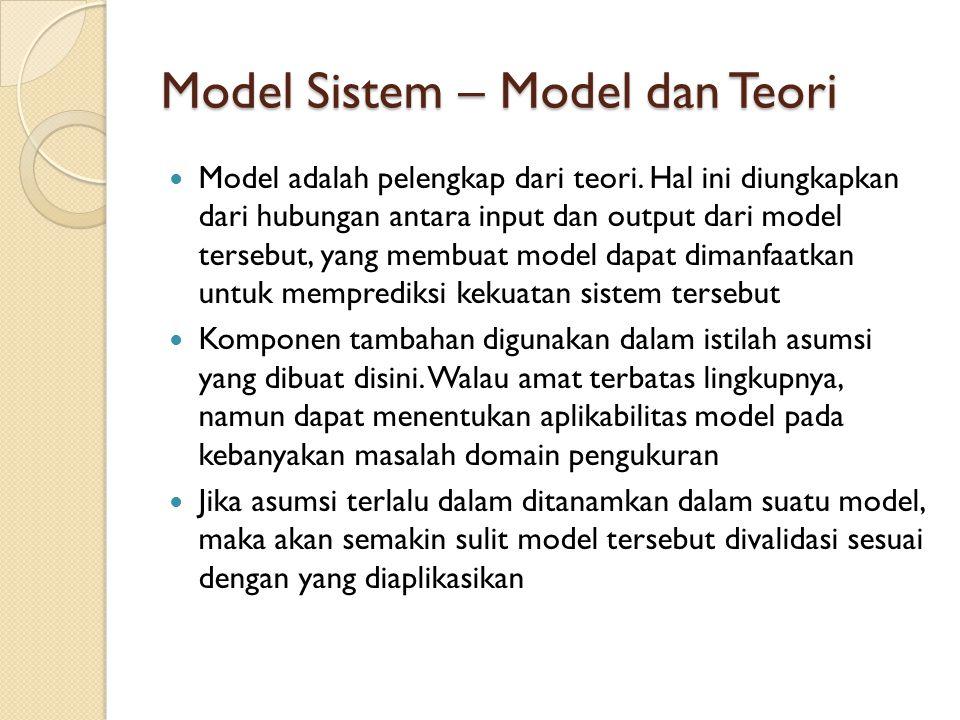 Model Sistem – Model dan Teori Model adalah pelengkap dari teori. Hal ini diungkapkan dari hubungan antara input dan output dari model tersebut, yang
