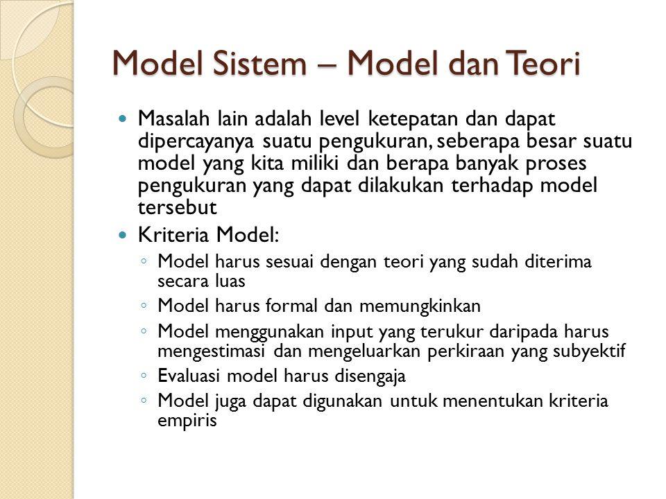 Model Sistem – Model dan Teori Masalah lain adalah level ketepatan dan dapat dipercayanya suatu pengukuran, seberapa besar suatu model yang kita milik