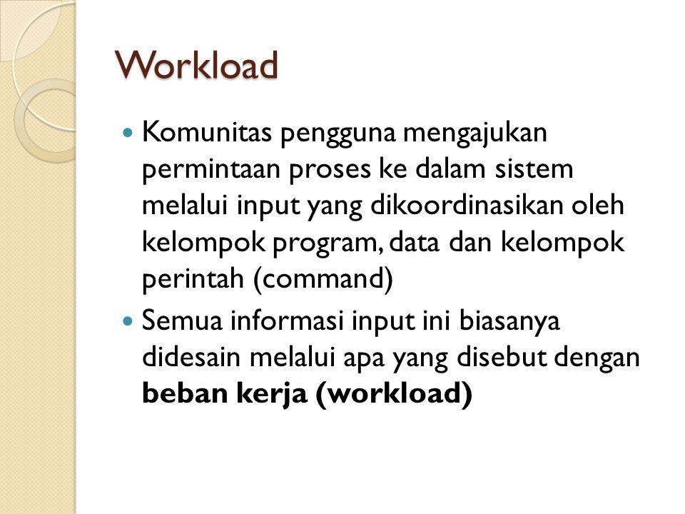 Workload Komunitas pengguna mengajukan permintaan proses ke dalam sistem melalui input yang dikoordinasikan oleh kelompok program, data dan kelompok p