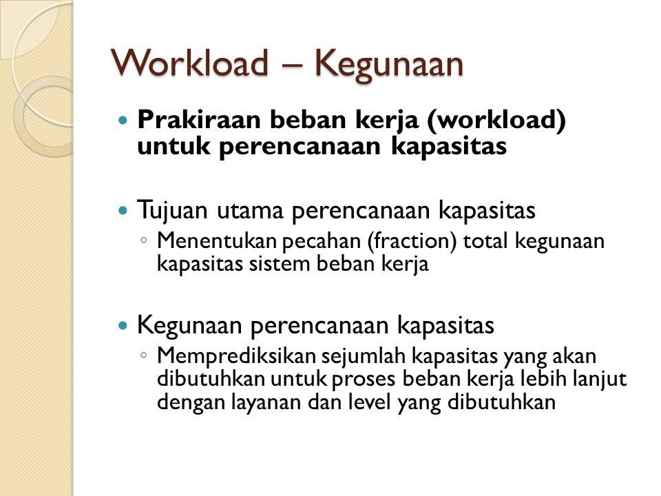 Workload – Kegunaan Prakiraan beban kerja (workload) untuk perencanaan kapasitas Tujuan utama perencanaan kapasitas ◦ Menentukan pecahan (fraction) to