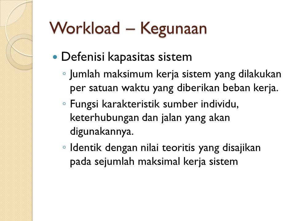Workload – Kegunaan Defenisi kapasitas sistem ◦ Jumlah maksimum kerja sistem yang dilakukan per satuan waktu yang diberikan beban kerja. ◦ Fungsi kara