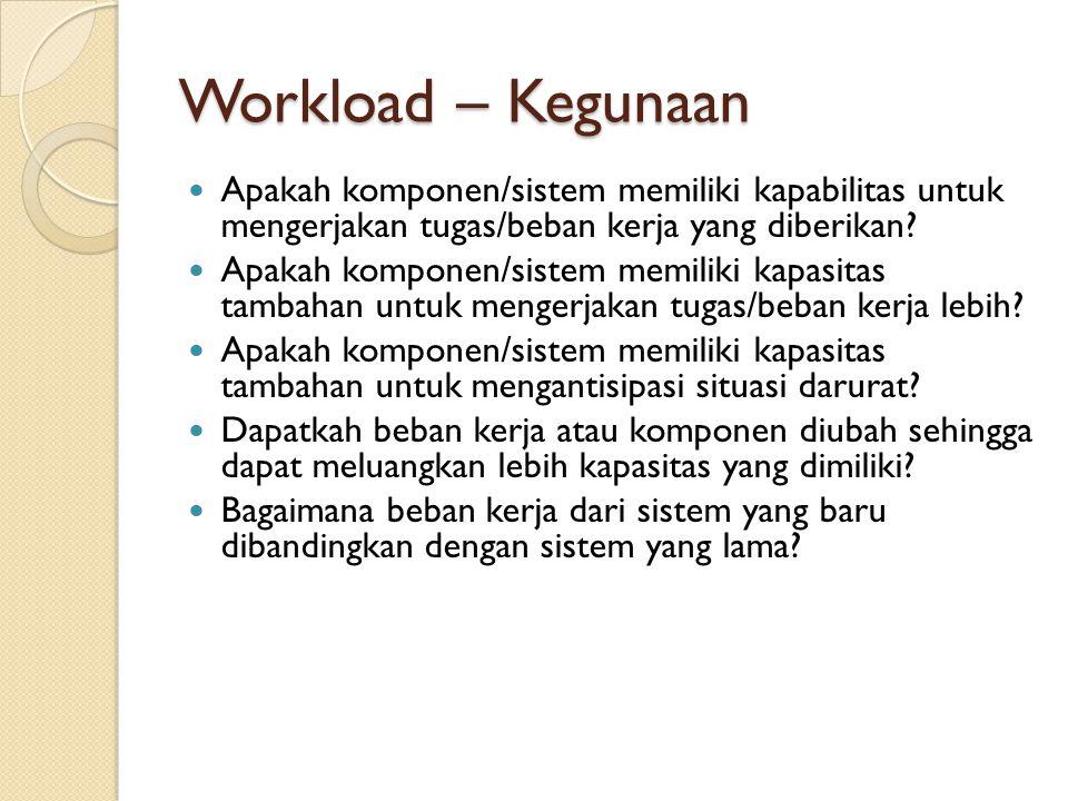 Workload – Kegunaan Apakah komponen/sistem memiliki kapabilitas untuk mengerjakan tugas/beban kerja yang diberikan? Apakah komponen/sistem memiliki ka