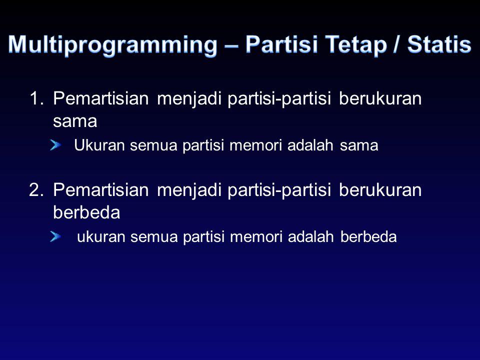 1.Pemartisian menjadi partisi-partisi berukuran sama Ukuran semua partisi memori adalah sama 2.Pemartisian menjadi partisi-partisi berukuran berbeda u