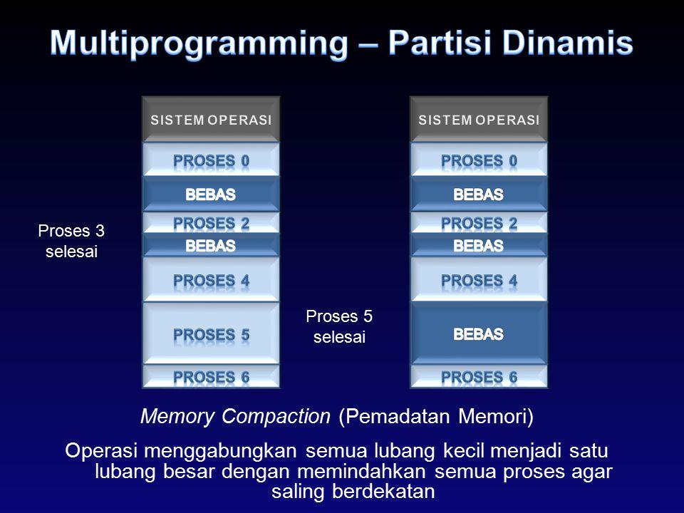Memory Compaction (Pemadatan Memori) Operasi menggabungkan semua lubang kecil menjadi satu lubang besar dengan memindahkan semua proses agar saling be