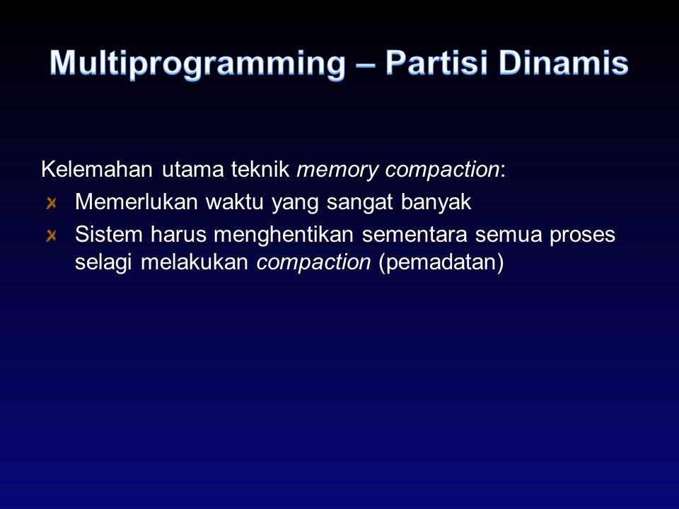 Kelemahan utama teknik memory compaction: Memerlukan waktu yang sangat banyak Sistem harus menghentikan sementara semua proses selagi melakukan compac