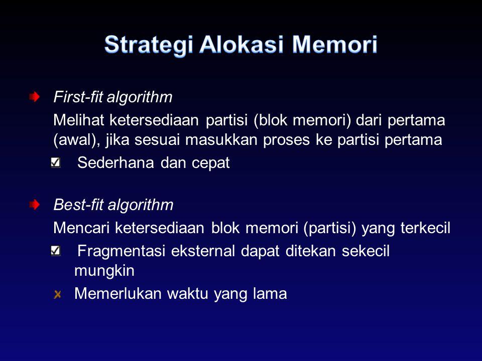 First-fit algorithm Melihat ketersediaan partisi (blok memori) dari pertama (awal), jika sesuai masukkan proses ke partisi pertama Sederhana dan cepat