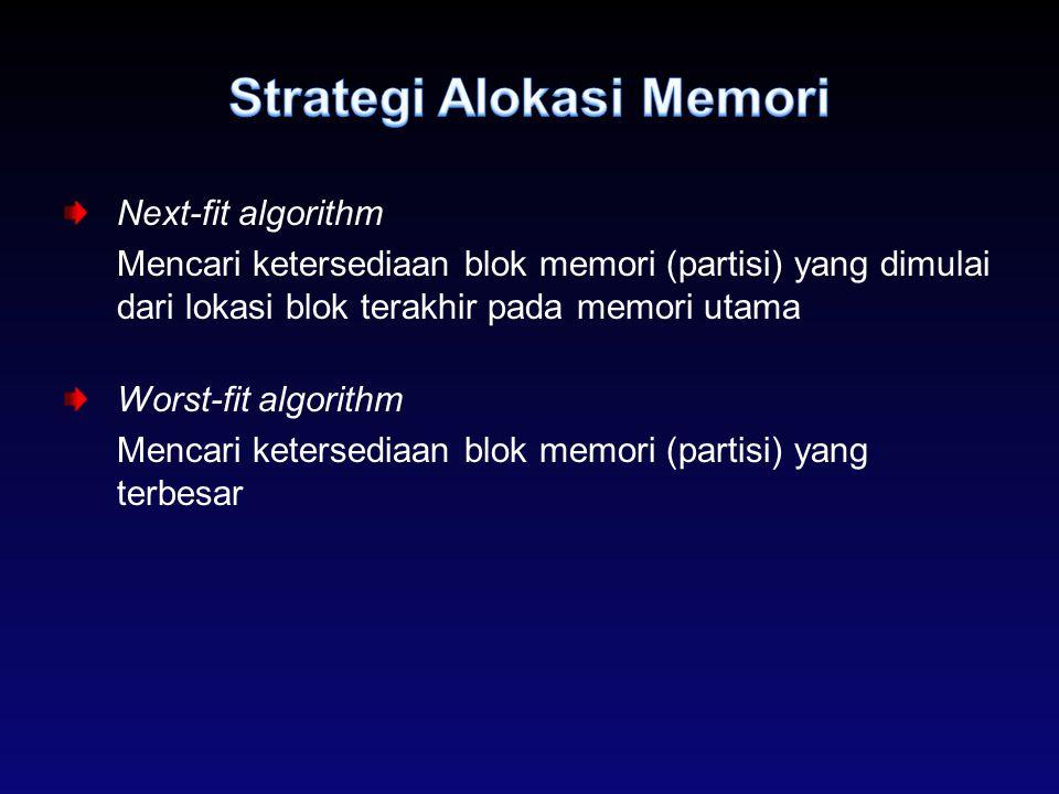 Next-fit algorithm Mencari ketersediaan blok memori (partisi) yang dimulai dari lokasi blok terakhir pada memori utama Worst-fit algorithm Mencari ket