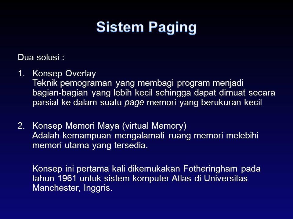 Dua solusi : 1.Konsep Overlay Teknik pemograman yang membagi program menjadi bagian-bagian yang lebih kecil sehingga dapat dimuat secara parsial ke da