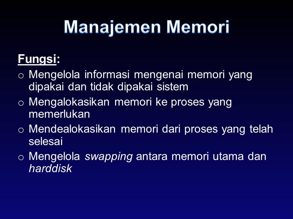 Fungsi: o Mengelola informasi mengenai memori yang dipakai dan tidak dipakai sistem o Mengalokasikan memori ke proses yang memerlukan o Mendealokasika