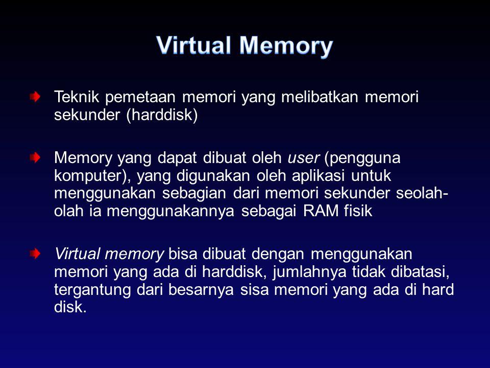Teknik pemetaan memori yang melibatkan memori sekunder (harddisk) Memory yang dapat dibuat oleh user (pengguna komputer), yang digunakan oleh aplikasi