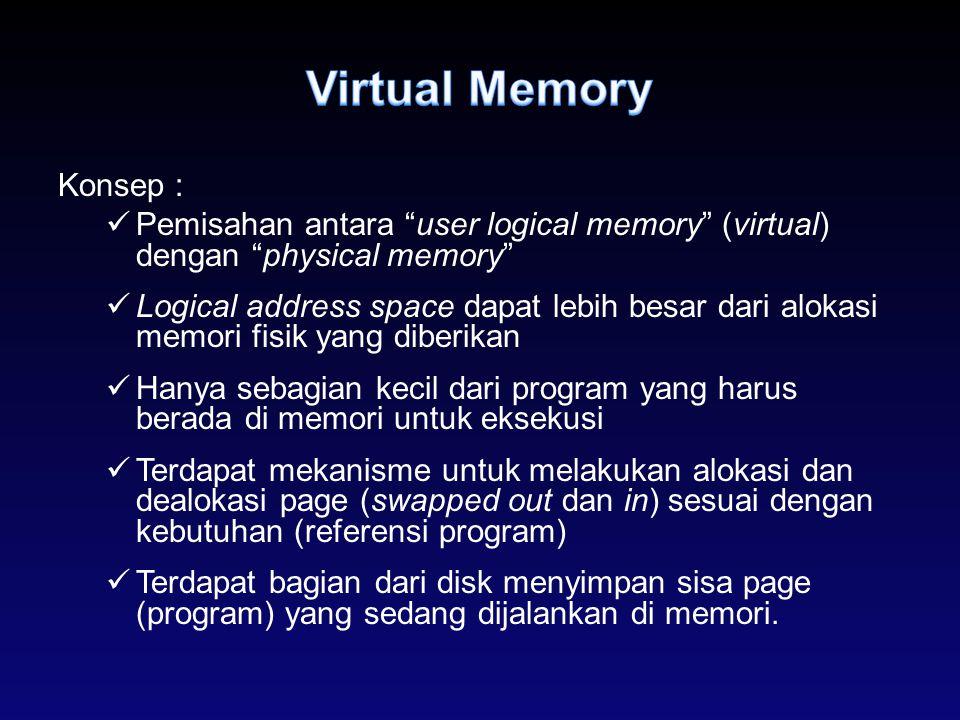 """Konsep : Pemisahan antara """"user logical memory"""" (virtual) dengan """"physical memory"""" Logical address space dapat lebih besar dari alokasi memori fisik y"""