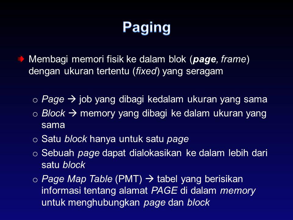 Membagi memori fisik ke dalam blok (page, frame) dengan ukuran tertentu (fixed) yang seragam o Page  job yang dibagi kedalam ukuran yang sama o Block