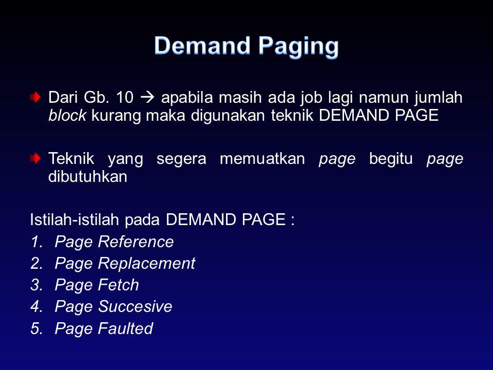 Dari Gb. 10  apabila masih ada job lagi namun jumlah block kurang maka digunakan teknik DEMAND PAGE Teknik yang segera memuatkan page begitu page dib