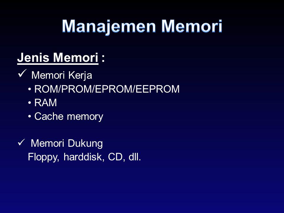 Jenis Memori : Memori Kerja ROM/PROM/EPROM/EEPROM RAM Cache memory Memori Dukung Floppy, harddisk, CD, dll.