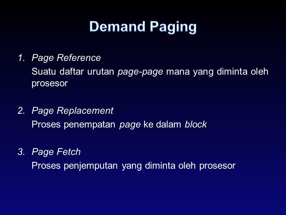1.Page Reference Suatu daftar urutan page-page mana yang diminta oleh prosesor 2.Page Replacement Proses penempatan page ke dalam block 3.Page Fetch P