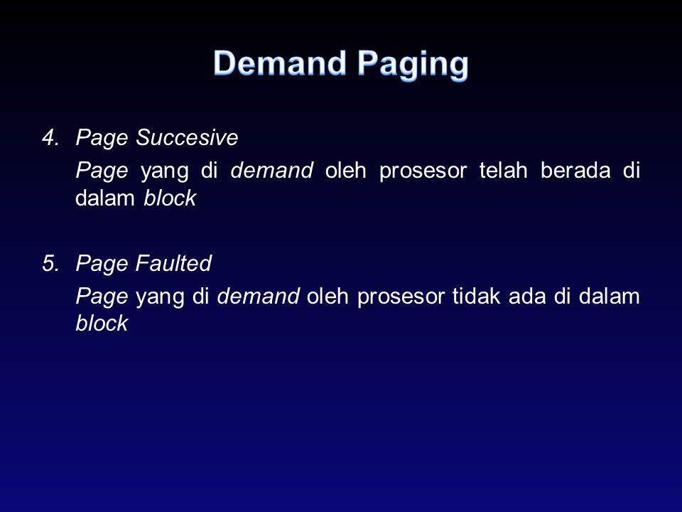 4.Page Succesive Page yang di demand oleh prosesor telah berada di dalam block 5.Page Faulted Page yang di demand oleh prosesor tidak ada di dalam blo