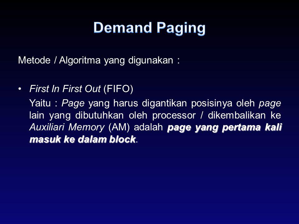Metode / Algoritma yang digunakan : First In First Out (FIFO) page yangpertama kali masuk ke dalam block Yaitu : Page yang harus digantikan posisinya