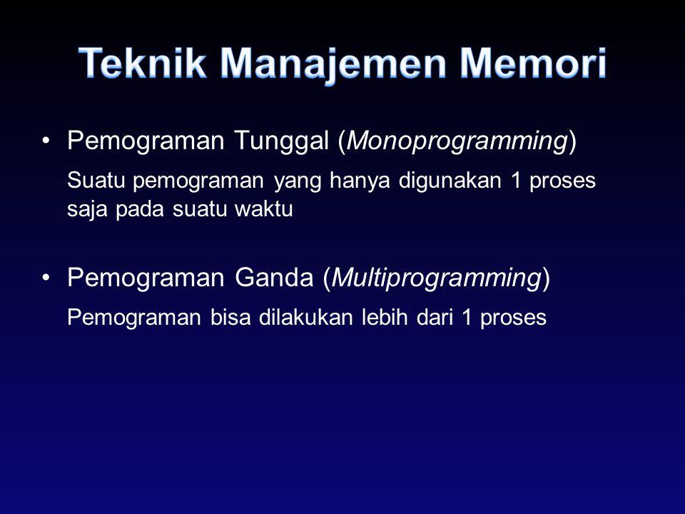 Pemograman Tunggal (Monoprogramming) Suatu pemograman yang hanya digunakan 1 proses saja pada suatu waktu Pemograman Ganda (Multiprogramming) Pemogram