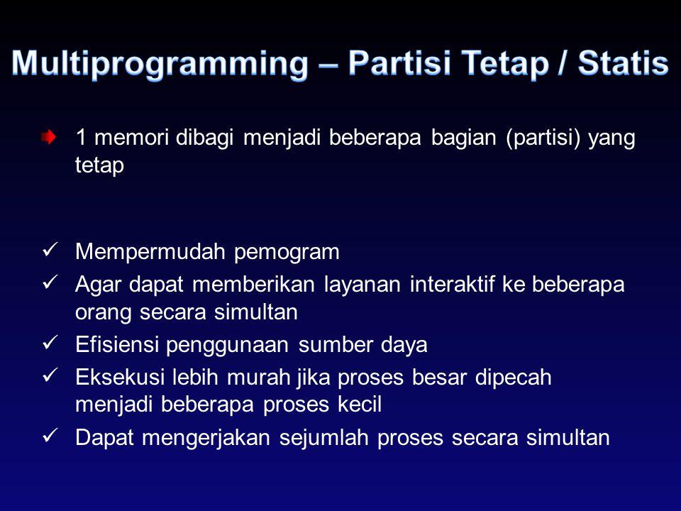 1 memori dibagi menjadi beberapa bagian (partisi) yang tetap Mempermudah pemogram Agar dapat memberikan layanan interaktif ke beberapa orang secara si