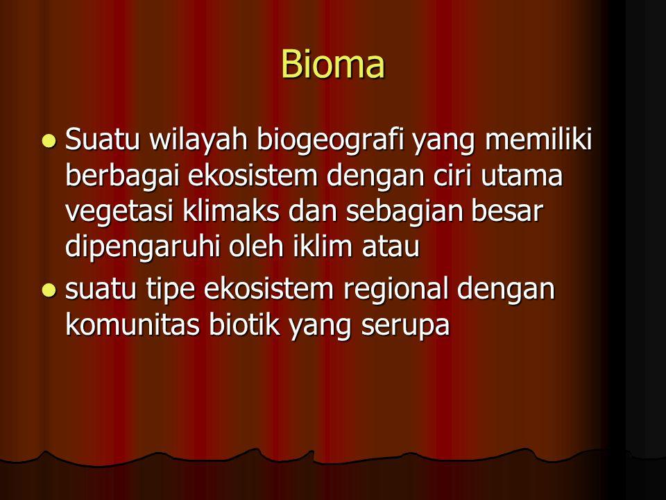 Bioma Suatu wilayah biogeografi yang memiliki berbagai ekosistem dengan ciri utama vegetasi klimaks dan sebagian besar dipengaruhi oleh iklim atau Suatu wilayah biogeografi yang memiliki berbagai ekosistem dengan ciri utama vegetasi klimaks dan sebagian besar dipengaruhi oleh iklim atau suatu tipe ekosistem regional dengan komunitas biotik yang serupa suatu tipe ekosistem regional dengan komunitas biotik yang serupa