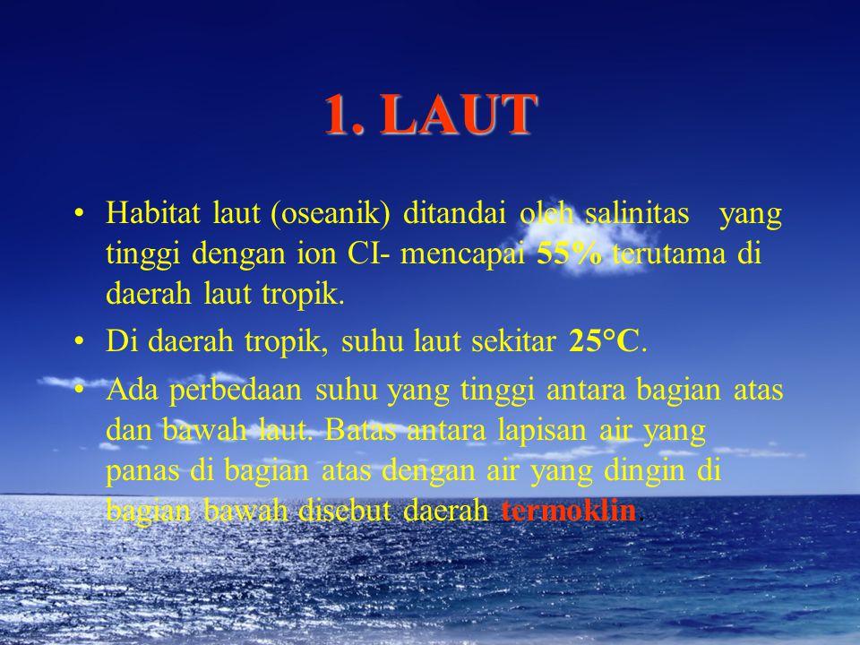 1. LAUT Habitat laut (oseanik) ditandai oleh salinitas yang tinggi dengan ion CI- mencapai 55% terutama di daerah laut tropik. Di daerah tropik, suhu