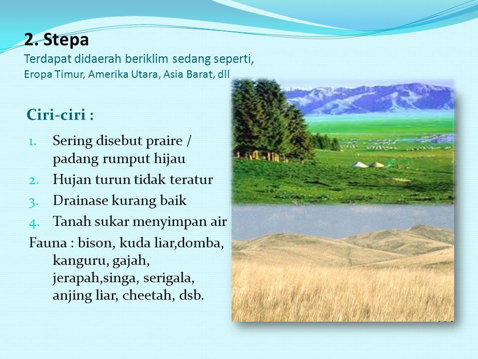 1. Sabana/savana Terdapat didaerah tropika dan subtropika Ciri-ciri : 1. Ditumbuhi tumbuhan xerofit (mampu beradaptasi didaerah kering)->Palem & Akasi
