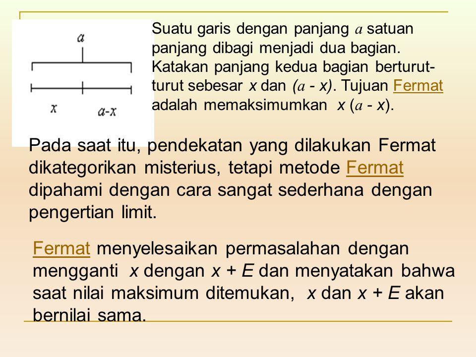 Suatu garis dengan panjang a satuan panjang dibagi menjadi dua bagian. Katakan panjang kedua bagian berturut- turut sebesar x dan ( a - x). Tujuan Fer