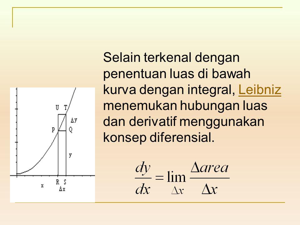 Selain terkenal dengan penentuan luas di bawah kurva dengan integral, Leibniz menemukan hubungan luas dan derivatif menggunakan konsep diferensial.Lei
