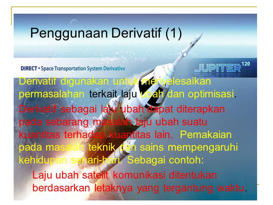 Derivatif digunakan untuk menyelesaikan permasalahan terkait laju ubah dan optimisasi. Derivatif sebagai laju ubah dapat diterapkan pada sebarang masa