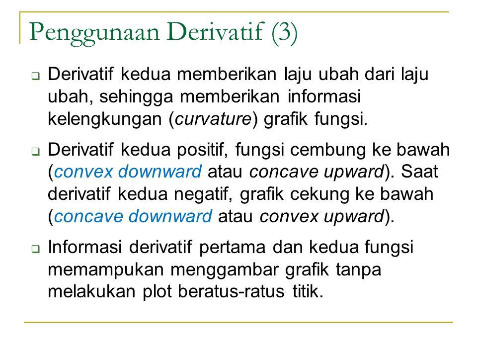 Penggunaan Derivatif (3)  Derivatif kedua memberikan laju ubah dari laju ubah, sehingga memberikan informasi kelengkungan (curvature) grafik fungsi.
