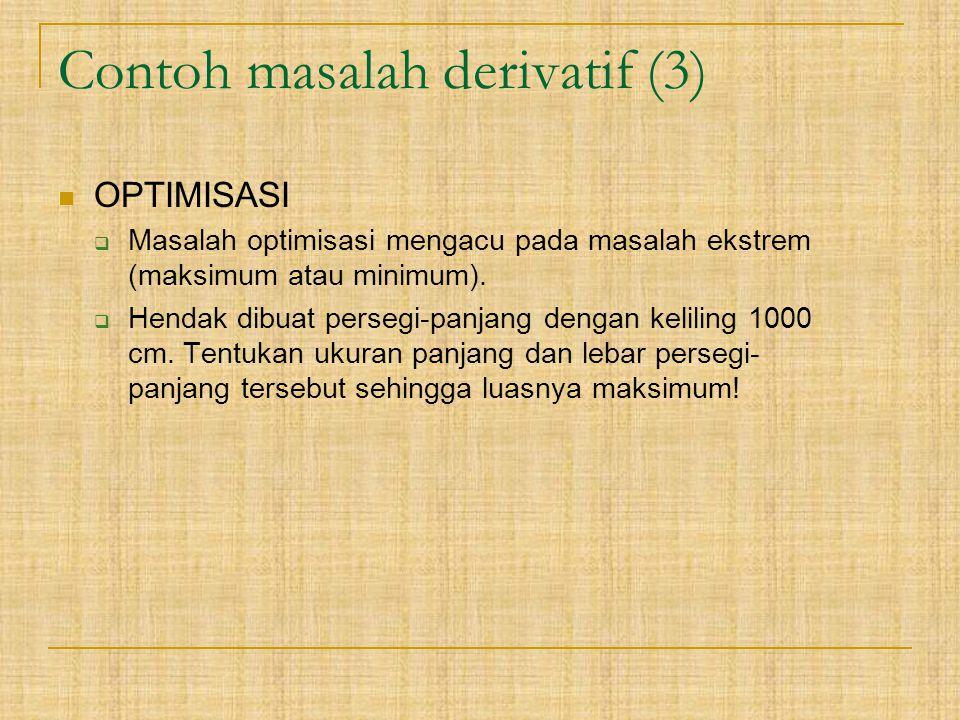 Contoh masalah derivatif (3) OPTIMISASI  Masalah optimisasi mengacu pada masalah ekstrem (maksimum atau minimum).  Hendak dibuat persegi-panjang den