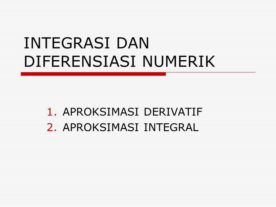 INTEGRASI DAN DIFERENSIASI NUMERIK 1.APROKSIMASI DERIVATIF 2.APROKSIMASI INTEGRAL