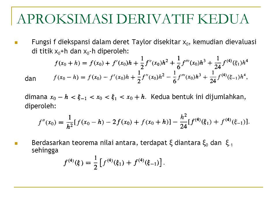 APROKSIMASI DERIVATIF KEDUA Fungsi f diekspansi dalam deret Taylor disekitar x 0, kemudian dievaluasi di titik x 0 +h dan x 0 -h diperoleh: dan dimana