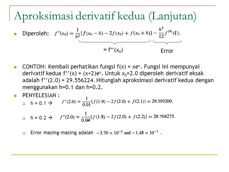 Aproksimasi derivatif kedua (Lanjutan) Diperoleh: CONTOH: Kembali perhatikan fungsi f(x) = xe x. Fungsi ini mempunyai derivatif kedua f''(x) = (x+2)e
