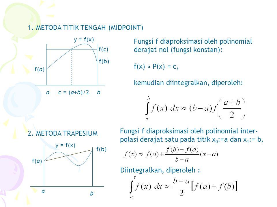 1. METODA TITIK TENGAH (MIDPOINT) ab f(a) f(b) c = (a+b)/2 f(c) y = f(x) Fungsi f diaproksimasi oleh polinomial derajat nol (fungsi konstan): f(x) ≈ P