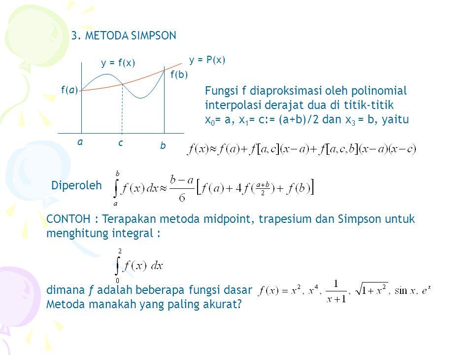3. METODA SIMPSON a b y = f(x) f(a) f(b) c y = P(x) Fungsi f diaproksimasi oleh polinomial interpolasi derajat dua di titik-titik x 0 = a, x 1 = c:= (