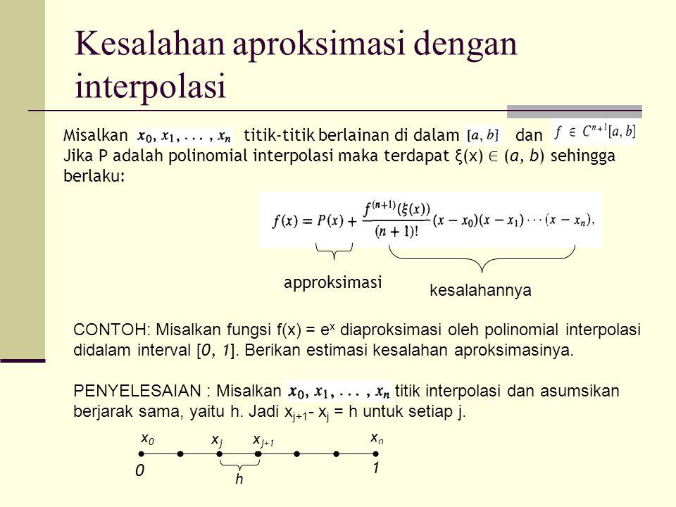 Ambil sebarang x didalam [0, 1], kita akan menyelidiki kesalahan mutlak   f(x) - P(x)  .