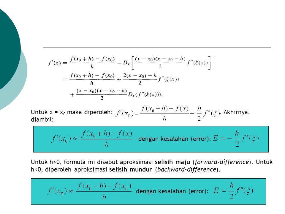 Untuk x = x 0 maka diperoleh:. Akhirnya, diambil: dengan kesalahan (error): Untuk h>0, formula ini disebut aproksimasi selisih maju (forward-differenc