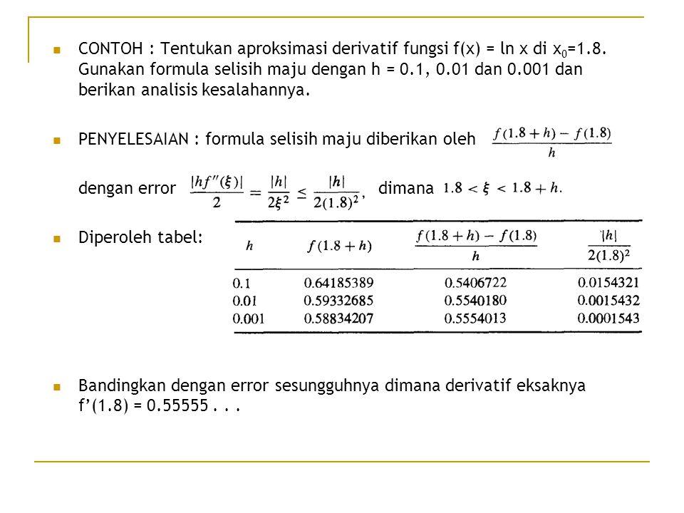 CONTOH : Tentukan aproksimasi derivatif fungsi f(x) = ln x di x 0 =1.8. Gunakan formula selisih maju dengan h = 0.1, 0.01 dan 0.001 dan berikan analis