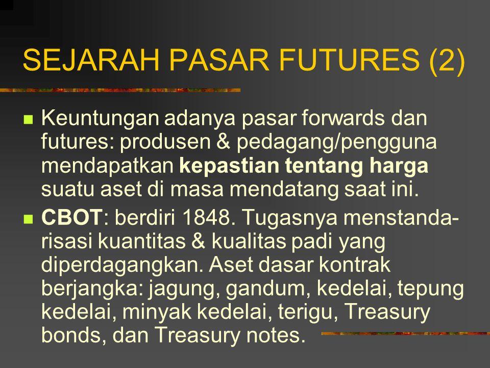 SEJARAH PASAR FUTURES (1) Awal mula berdirinya pasar berjangka: untuk mempertemukan kebutuhan antara para petani dengan para pedagang.