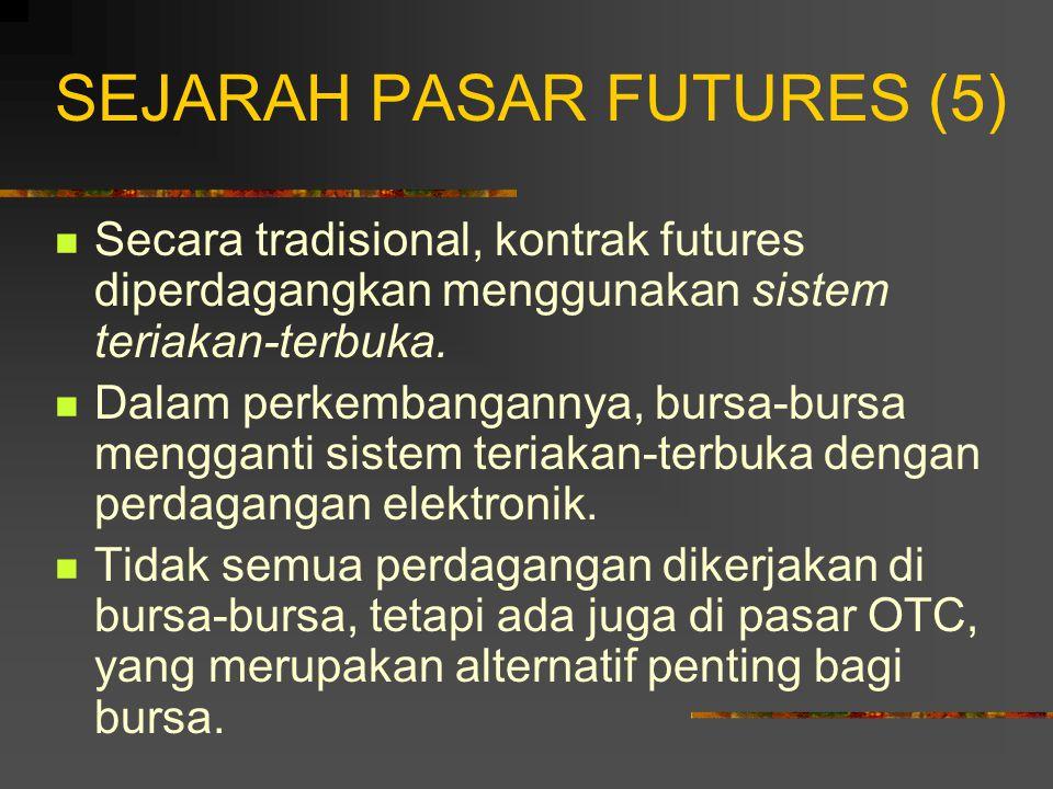 SEJARAH PASAR FUTURES (4) Sejak itu CME menyediakan pasar komodi- tas: daging babi (1961), ternak hidup (1964), babi hidup (1966), makanan ternak (1971).