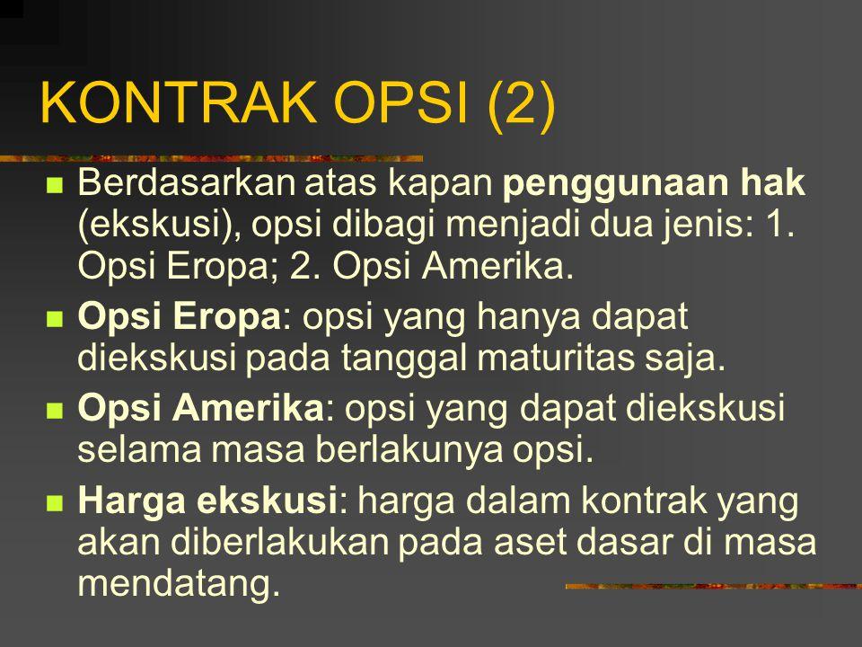 KONTRAK OPSI (1) Opsi dibagi menjadi dua macam: 1.