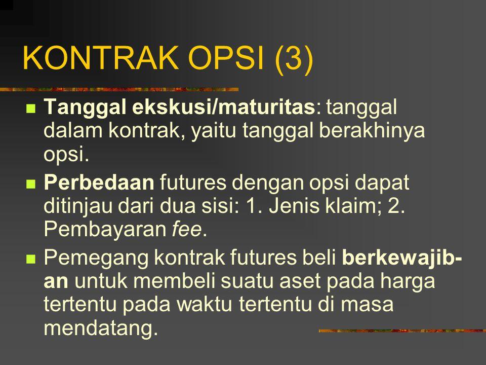 KONTRAK OPSI (2) Berdasarkan atas kapan penggunaan hak (ekskusi), opsi dibagi menjadi dua jenis: 1.