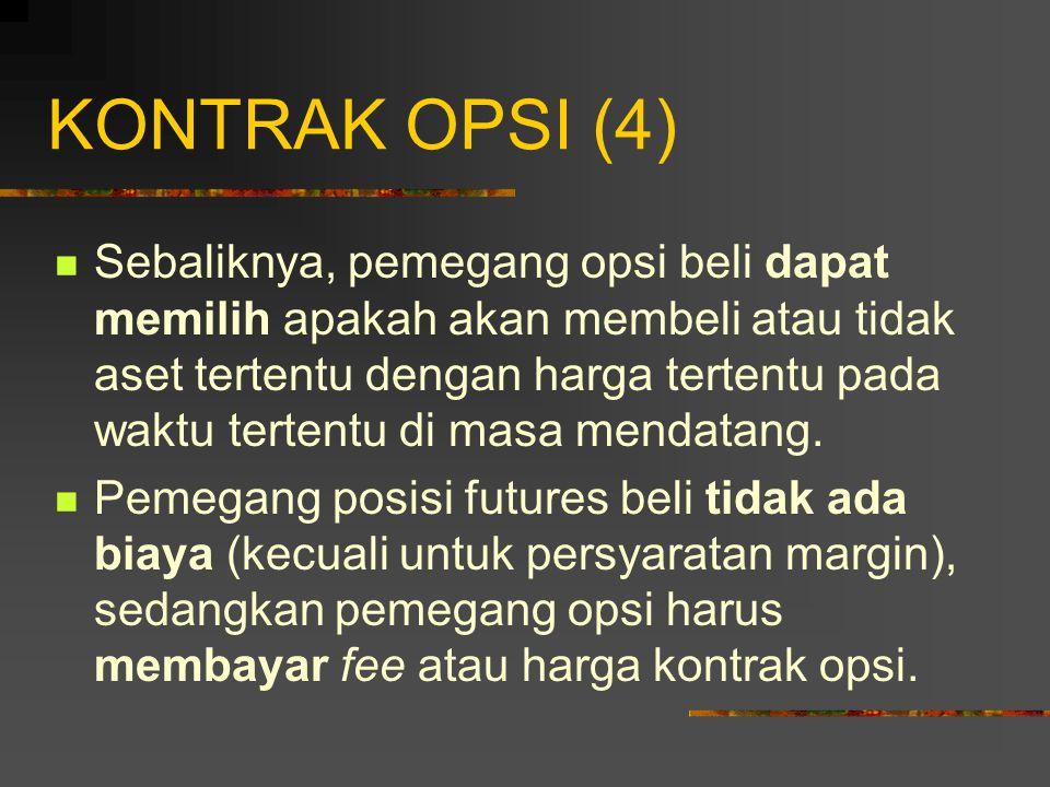 KONTRAK OPSI (3) Tanggal ekskusi/maturitas: tanggal dalam kontrak, yaitu tanggal berakhinya opsi.