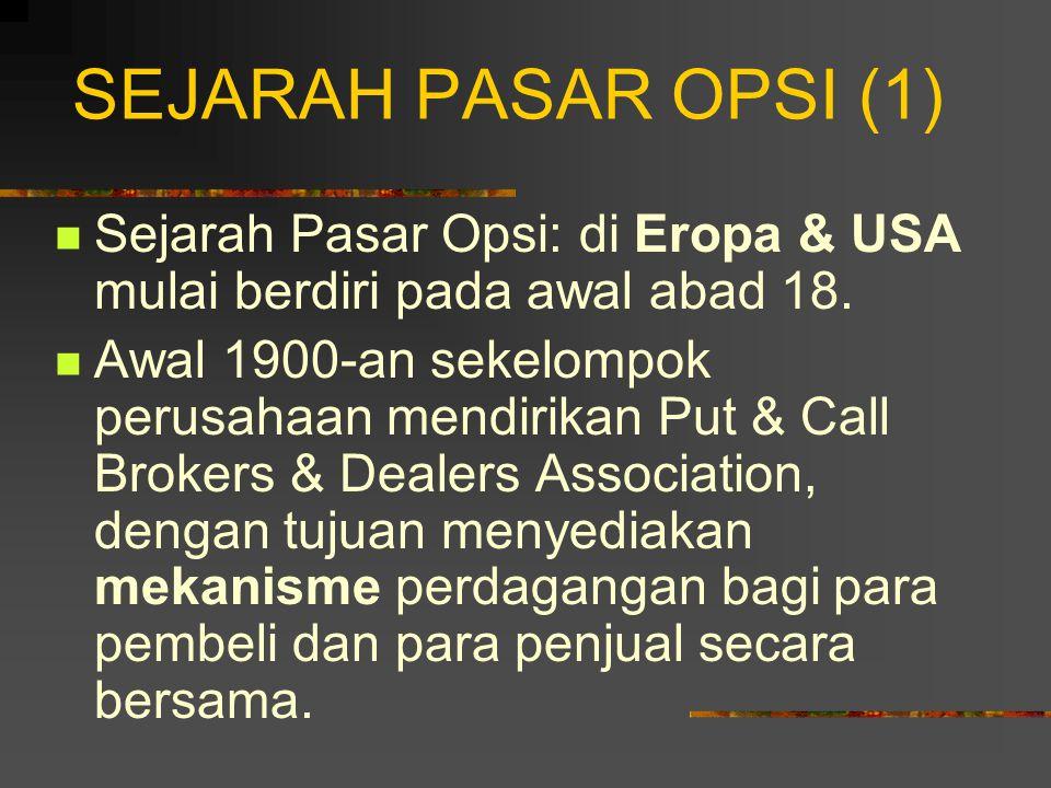 KONTRAK OPSI (5) Empat partisipan pasar 0psi: 1.Pembeli opsi beli; 2.