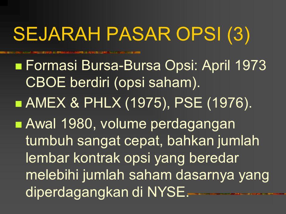 SEJARAH PASAR OPSI (2) Pada awalnya pasar opsi yang diben- tuk oleh asosiasi tersebut adalah pasar OTC, sehingga mempunyai dua ketidakefisienan: 1.