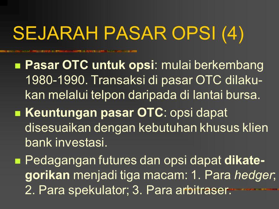 SEJARAH PASAR OPSI (3) Formasi Bursa-Bursa Opsi: April 1973 CBOE berdiri (opsi saham).